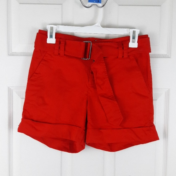 Calvin Klein Pants - Calvin Klein Belted Red Shorts Size 2
